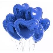 10 Unid - Balão Coração 18 Pol Azul Escuro  Metalizado Festa Casamento