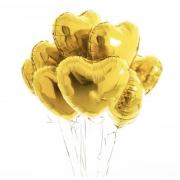 10 Unid - Balão Coração 18 Pol Dourado Metalizado Festa Casamento