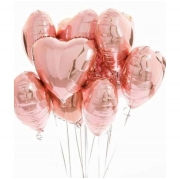10 Unid - Balão Coração 18 Pol Rosa Metalizado Festa Casamento