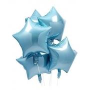 10 Unid - Balão Estrela 18 Pol Azul Claro  Metalizado