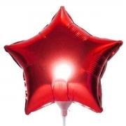 10 Unid - Balão Estrela 18 Pol  Vermelho  Metalizado