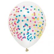 12 Unid - Balao Bexiga  Confete  Cores  Neon  Colorido 12 Pol Decoracao