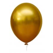 25 Balão Bexiga  Cromado Metalizado 9 Polegadas Aluminio Amarelo Mostarda