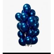 25 Balão Bexiga Cromado Metalizado Alumínio  9 Pol Azul Meia Noite
