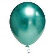 25 Balão Bexiga Cromado Metalizado Alumínio  9 Pol Verde Oceano