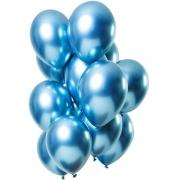 25 Balão Bexiga Cromado Metalizado Alumínio Azul 9 Pol