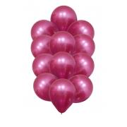 25 Balão Bexiga Cromado Metalizado Alumínio Fucsia 9 Pol