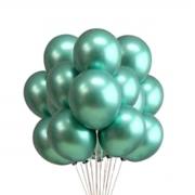 25 Balão Bexiga Cromado Metalizado Alumínio Verde 9 Pol