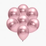25 Balão Bexiga Cromado Metalizado Rosa Rose  9 Polegadas