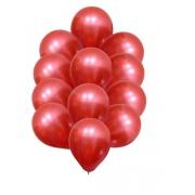 25 Balao Bexiga  Cromado Metalizado Vermelho 5 Polegadas