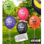 25 Balão Bexiga Látex Decorado 11 Pol Caveira Mexicana Oferta