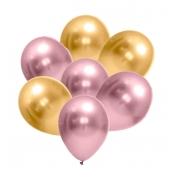 25 Balão Bexiga Metalizado 5 Pol Dourado + 25 Rosa Rose cromado