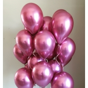 25 Balão Bexiga  Pink  Cromado Metalizado 9 Polegadas