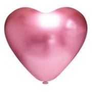 25 Unid - Balão Bexiga Coração Rosa Cromado 10 Polegadas