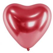 25 Unid - Balão Bexiga Coração Vermelho Cromado 10 Polegadas