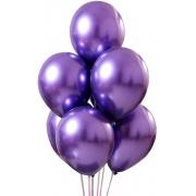 25 Unid Balão Violeta Platino Cromado Pic Pic