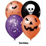 25 Unid - Bexiga Balões Halloween 9 Pol