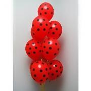 25 Unid - Bexiga Balões Vermelho C/Bolinhas Preta 9 Pol