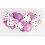 50 Balão Bexiga Lilás 7 Pol + 50 Rosa Baby 9 Pol + 25 Balão Patinha de cachorro 9 Pol Patrulha Canina Skye