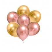 50 Balão Bexiga Metalizado Alumínio Rose Gold + Dourado 5 Polegadas