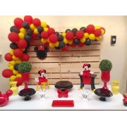 50 Balão Bexiga Vermelho 8 Pol + 50 Amarelo 7 Pol + 50 Preto 6,5 Festa Minnie  e Mickey
