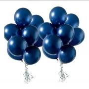 5 Unid Balão Bexiga Azul Meia Noite  9 Pol Cromado Metalizado