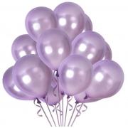 5 Unid Balão Bexiga Lilás 9 Pol Cromado Metalizado
