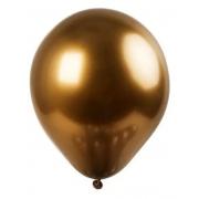 5 Unid Balão Bexiga Marrom Bronze  9 Pol Cromado Metalizado