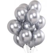 Balão Bexiga Latex Cromado Metalizado Prata 5 Polegadas