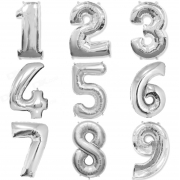 Balão Bexiga Prata Números Número 45 cm Metalizado