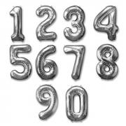 Balão Bexiga Prata Números 18 Pol Número 45 cm Metalizado Cromado