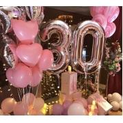 Balão Numero 18 Pol  Metalizado Rose Gold 45 cms - Aniversario
