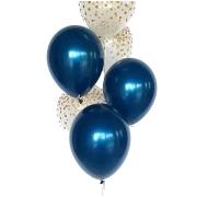 Kit 12 Balão Bexiga Confeti Dourado 12 Pol + 25 Balão 9 Pol Azul Meia Noite Cromado