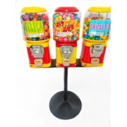 Kit 3 Maquina + Pedestal + 500 Bolinha Pula Pula 27mm + 426 Chicletes + 280 Capsulas