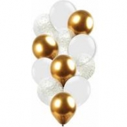 Kit Buque Balao Bexiga Dourado Metalizado - Confete - Branco