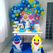 Kit de balões Baby Shark - 25 Unid Balão Bexiga Azul Cromado 9 Pol + 50 Balão Amarelo 8 Pol + 100 Balão 7 Pol (Azul Claro + Azul Escuro)