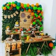 Kit festa Safari animais - 100 Balão Bexiga 7 Pol (Laranja + Marrom) + 100 Balão 8 Pol (Verde Escuro + Verde Limão)