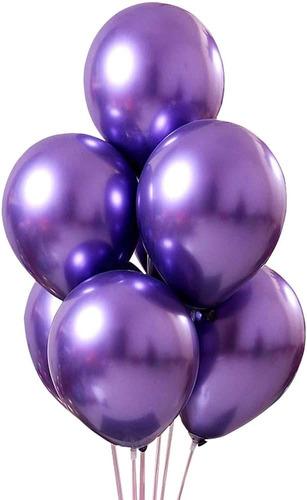 25 Balão Bexiga 5 Pol Verde  + 25 Violeta Roxo cromado Metalizado