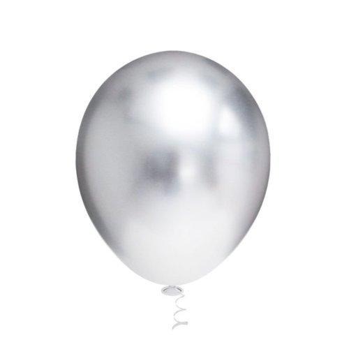 25 Balão Bexiga 9 Pol Metalizado Preto + 25 Prata Aluminio