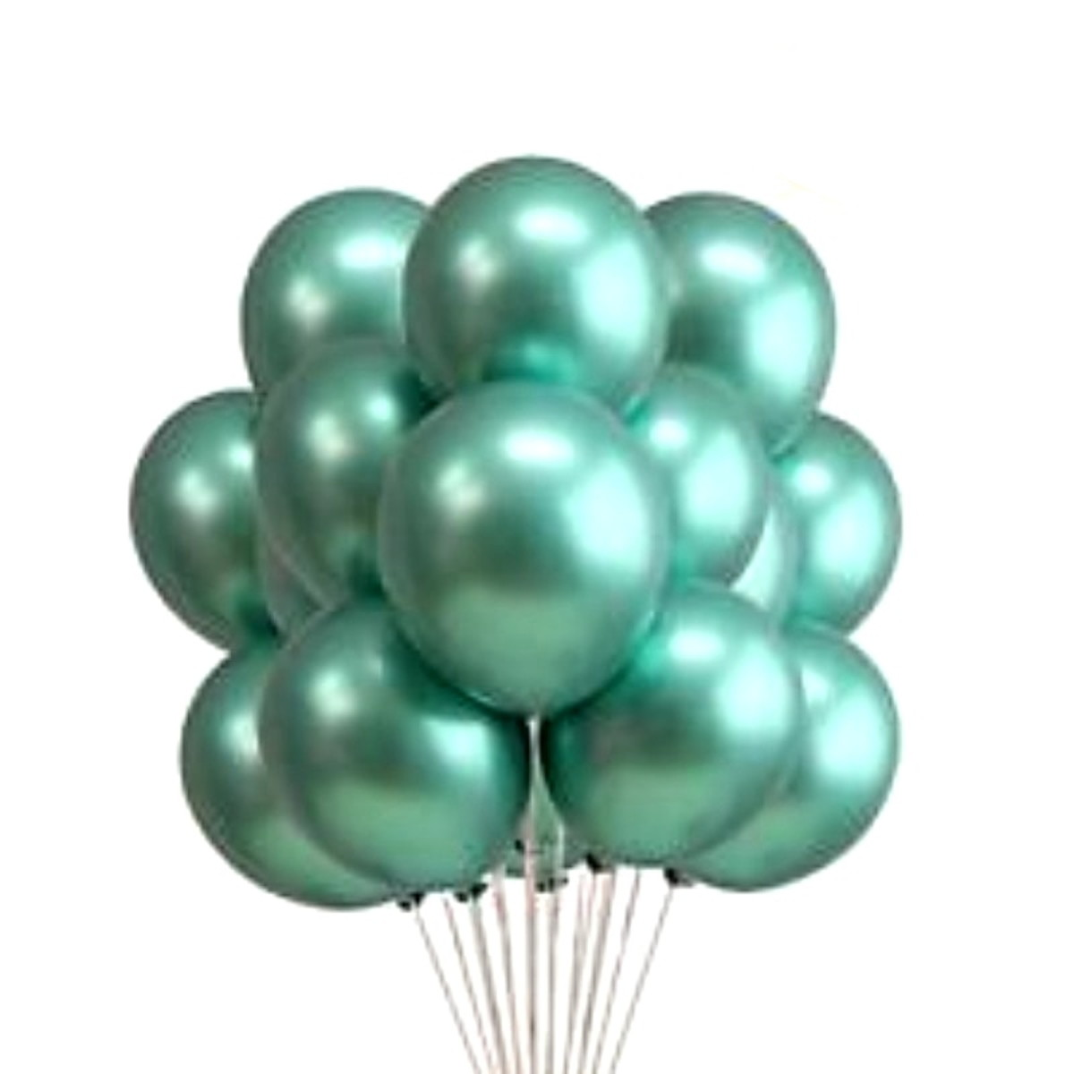 25 Balão Bexiga 9 Pol  Violeta Roxo + 25 Verde Aluminio Cromado Metalizado