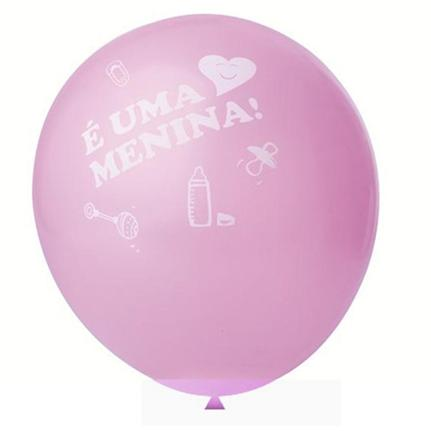 25 Balão Bexiga Cha de Bebe Cha Revelação Rosa 11 Polegadas