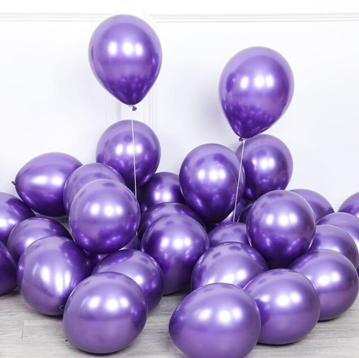 25 Balão Bexiga Cromado Metalizado Alumínio Violeta 9 Pol