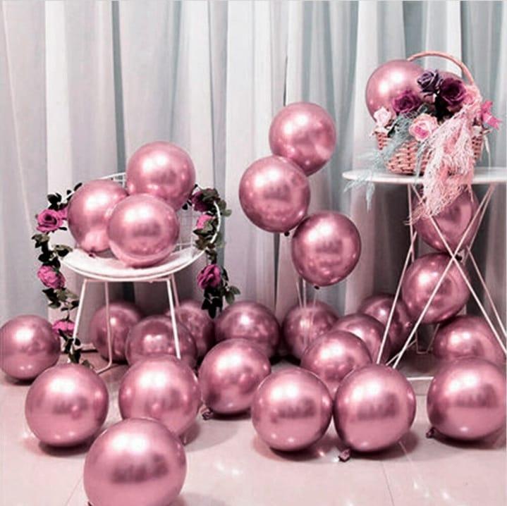 25 Balão Bexiga Cromado Metalizado Rosa 5 Polegadas