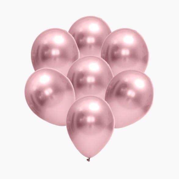 25 Balão Bexiga Cromado Metalizado Rosa Rose 5 Polegadas