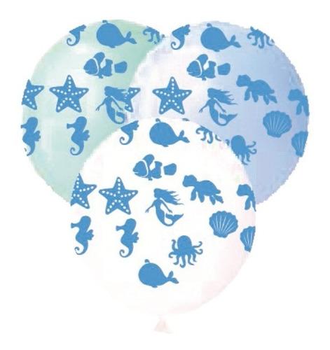 25 Balão Bexiga Latex Fundo Do Mar Sereia