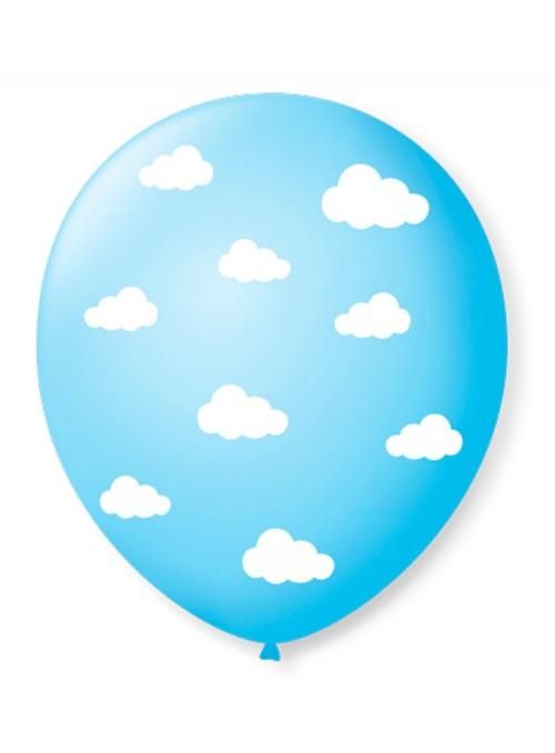 25 Balão Bexiga Latex Nuvens Nuvem Azul Celeste
