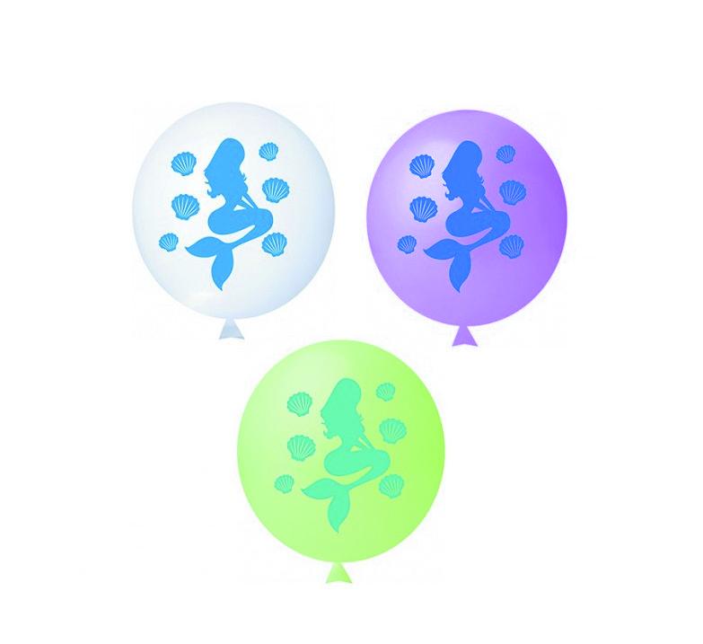 25 Balão Bexiga Latex Sereia Encantada P/ Festa Decoração