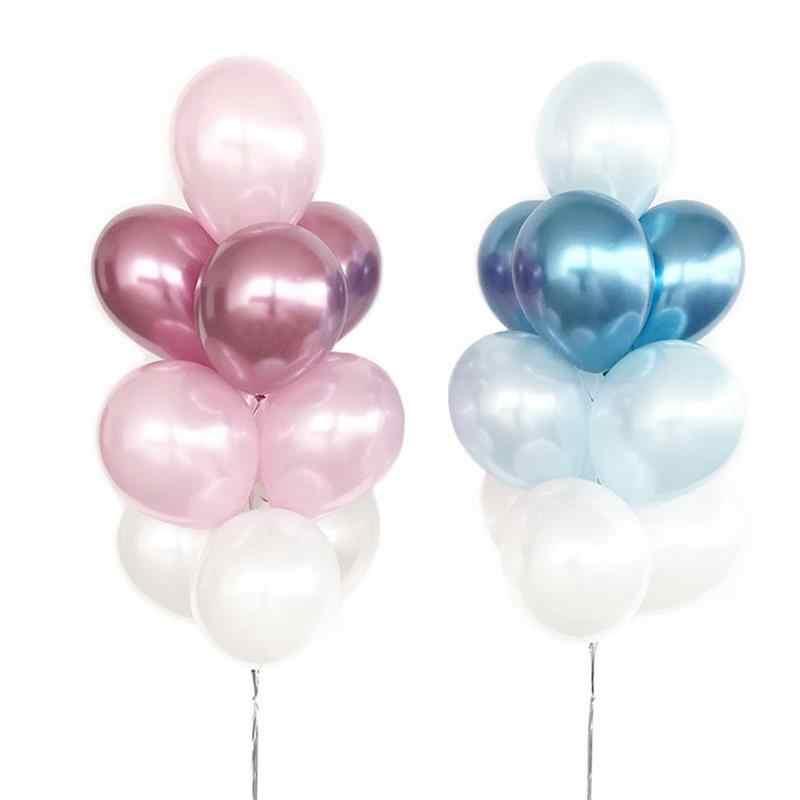 25 Balão Bexiga Metalizado Cromado Rosa + 25 Azul Tamanho 5 Polegadas
