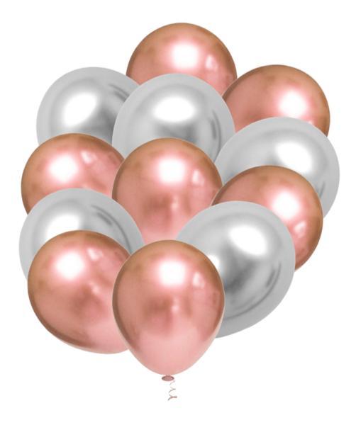 25 Balão Bexiga Rose Gold + 25 Prata Aluminio Metalizado 9 Polegadas