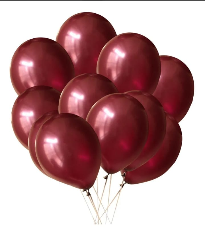 25 Balão Marsala Cromado Metalizado 9 Pol